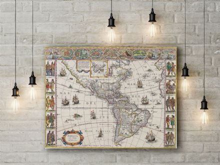 Willem Blaeu: Map of the America. Fine Art Canvas.